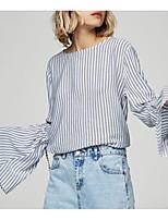 Недорогие -Жен. Рубашка Простой Полоски Вспышка рукава