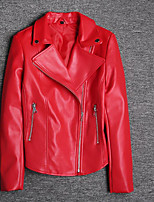 cheap -Women's Basic Leather Jacket-Solid Colored,Oversized