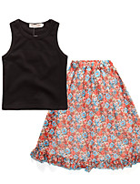 cheap -Girls' Daily Holiday Solid Colored Floral Print Clothing Set, Cotton Acrylic Spring Summer Sleeveless Vintage Active Black