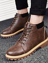 cheap -Men's Shoes Leather Winter Fall Combat Boots Comfort Boots Booties/Ankle Boots for Casual Gray Light Brown Dark Brown