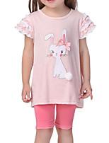 cheap -Girls' Daily Print Clothing Set, Polyester Spring Summer Sleeveless Street chic Blushing Pink