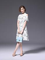 preiswerte -Damen Übergrössen Aktiv Schlank A-Linie Kleid - Druck, Blumen Einfarbig Knielang Hemdkragen