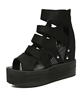 cheap -Women's Shoes Synthetic Spring Summer Comfort Heels Wedge Heel Open Toe Beading for Casual Office & Career Black