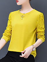 cheap -Women's T-shirt - Solid, Lace Patchwork