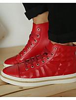 abordables -Homme Chaussures Cuir Printemps Automne Confort Basket pour Décontracté Blanc Noir Rouge