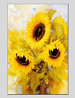 Недорогие -Ручная роспись Цветочные мотивы/ботанический Вертикальная панорама, Modern Hang-роспись маслом Украшение дома 1 панель