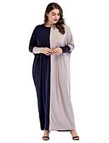 Недорогие -Жен. Крупногабаритные Свободный силуэт Платье - Контрастных цветов, Классический Макси