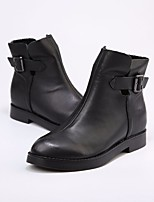cheap -Women's Shoes Cowhide Fall Winter Bootie Boots Chunky Heel Booties/Ankle Boots for Casual Black