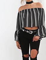 cheap -Women's Boho T-shirt - Striped, Basic Boat Neck