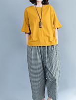 abordables -Tee-shirt Femme,Couleur Pleine A Volants Basique