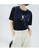 cheap -Women's Basic Cotton T-shirt - Animal, Embroidered