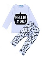 cheap -Unisex Daily Holiday Geometric Clothing Set, Cotton Spring Fall Long Sleeves Casual White