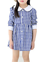 cheap -Girl's Daily Holiday Solid Print Plaid Dress, Cotton Polyester Spring Fall Long Sleeves Simple Casual Blue Red