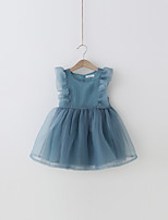 cheap -Girl's Daily Solid Dress, Polyester Summer Sleeveless Simple Blue White Blushing Pink