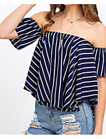 cheap -Women's Cute Cotton T-shirt Off Shoulder