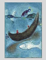 Недорогие -Hang-роспись маслом Ручная роспись Абстракция Вертикальная панорама, Modern Украшение дома 1 панель