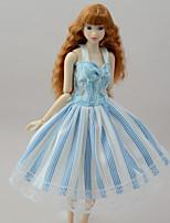 Недорогие -Платья Платья Для Кукла Барби Светло-синий Полиэстер/Хлопок Полиэфирно-льняная ткань Платье Для Девичий игрушки куклы
