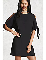 abordables -Femme Ample Tee Shirt Robe - Noeud, Couleur unie Mini