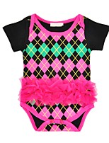 cheap -Baby Girls' Daily Holiday Geometric One-Pieces, Cotton Summer Cute Short Sleeve Fuchsia