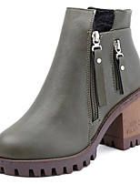 cheap -Women's Shoes PU Winter Spring Comfort Boots Block Heel Round Toe Mid-Calf Boots for Casual Black Green Light Brown