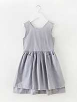 cheap -Girl's Daily Holiday Solid Dress, Cotton Polyester Spring Summer Sleeveless Simple Active Gray