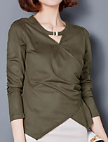 cheap -Women's Work Going out Slim Shirt - Solid Colored V Neck