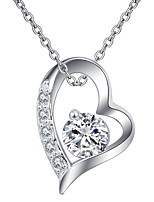 cheap -Women's Heart Cubic Zirconia Rhinestone Silver Plated Austria Crystal Choker Necklace Pendant Necklace - Simple Classic Elegant Flower