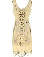 Недорогие -Великий Гэтсби Гетсби 1920-е года Костюм Жен. Платья Золотой Черный/красный Черный + Золотой Черный + Щепка Винтаж Косплей Полиэстер Без
