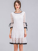 cheap -SHE IN SUN Women's Street chic Flare Sleeve Slim A Line Dress - Solid Colored Lace Bow