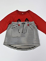 cheap -Unisex Daily Animal Print Color Block Tee, Cotton Summer Long Sleeves Casual Active Black Red