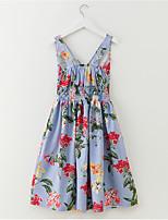 abordables -Robe Fille de Quotidien Vacances Rayé Fleur Polyester Printemps Eté Sans Manches simple Actif Arc-en-ciel