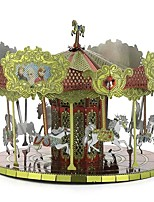 cheap -3D Puzzles Metal Puzzles Carousel Merry Go Round Creative Focus Toy Hand-made Metal 1pcs Standing Style Architecture Toy Kid's Adults'