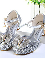 cheap -Girls' Shoes Sparkling Glitter Spring Fall Flower Girl Shoes Comfort Sandals Rhinestone Bowknot Pearl Buckle for Wedding Dress Gold