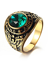 cheap -Men's Statement Ring Rhinestone Casual Cool Stainless Circle Costume Jewelry Daily Street