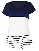 cheap -Women's Going out Holiday Business Cotton Loose T-shirt - Striped Color Block