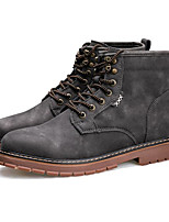 cheap -Men's Shoes Pigskin Winter Fall Combat Boots Comfort Boots Mid-Calf Boots for Casual Black Gray Yellow
