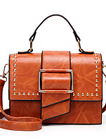 cheap -Women's Bags PU Tote Rivet for Casual Office & Career All Seasons Red Almond Dark Green Brown Wine