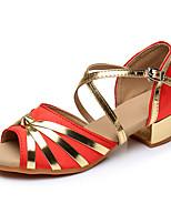 preiswerte -Damen Latin Kunstleder Sandalen Absätze Farbaufsatz Maßgefertigter Absatz Rot Maßfertigung
