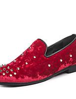 baratos -Homens sapatos Pele Nobuck Primavera Outono Conforto Mocassins e Slip-Ons para Casual Preto Vermelho Azul