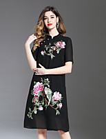 cheap -8CFAMILY Women's Vintage Chinoiserie A Line Loose Dress - Floral, Embroidered