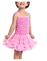 cheap -Girl's Daily Solid Colored Dress, Polyester Summer Sleeveless Cute Blushing Pink