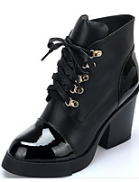 cheap -Women's Shoes Cowhide Fall Winter Combat Boots Comfort Boots Chunky Heel Booties/Ankle Boots for Casual Black