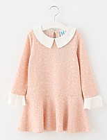 cheap -Girl's Solid Dress Spring Long Sleeves Simple Blushing Pink