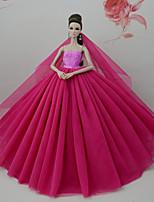 Недорогие -Платья Платье Для Кукла Барби Темно-красный Тюль Кружево Шелково-шерстяная ткань Платье Для Девичий игрушки куклы