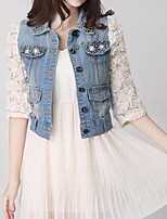 cheap -Women's Casual Denim Jacket-Solid Colored,Print Shirt Collar