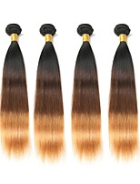 abordables -Cheveux Brésiliens Droit A Ombre 4 offres groupées Tissages de cheveux humains Noir / Moyen Marron / Blond Fraise / Droite