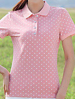 cheap -Women's Plus Size T-shirt - Polka Dot, Basic Shirt Collar