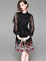 preiswerte -Damen Grundlegend Lantern Sleeve A-Linie Kleid - Gitter Bestickt, Tier Knielang
