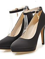preiswerte -Damen Schuhe PU Frühling Herbst Neuheit Komfort High Heels Stöckelabsatz Spitze Zehe Schnalle für Hochzeit Party & Festivität Schwarz