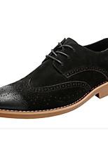 Недорогие -Муж. обувь Замша Весна Осень Удобная обувь Туфли на шнуровке для Повседневные Черный Серый Коричневый